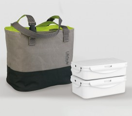 bolsa porta alimentos + 2 recipientes herméticos
