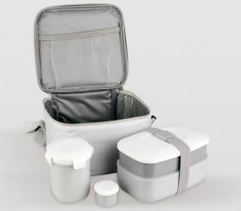 bolsa porta alimentos + 4 recipientes + cubiertos Lifestyle